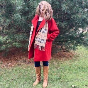 AUTHENTIC Burberry Red Wool Peacoat
